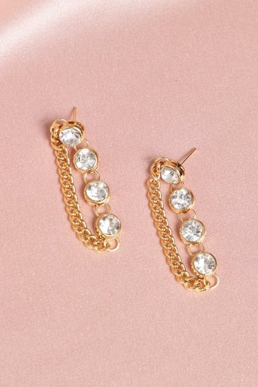 Gold Diamante Drop Chain Earrings