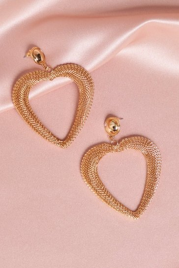 Gold Metal Oversized Heart Earrings
