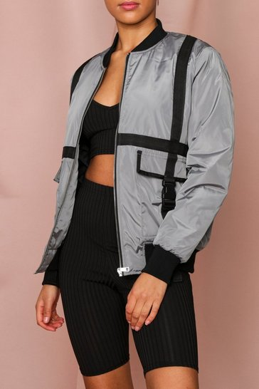 Grey Bomber Jacket With Strapping Detail