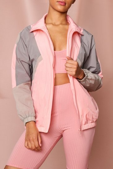 Pink Panelled Colour Block Windbreaker Jacket