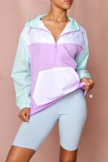 Lilac Panelled Half Zip Windbreaker Jacket