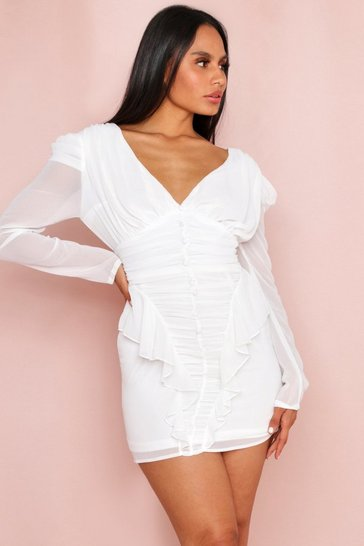 White Button Front Frill Detail Ruched Chiffon Dress