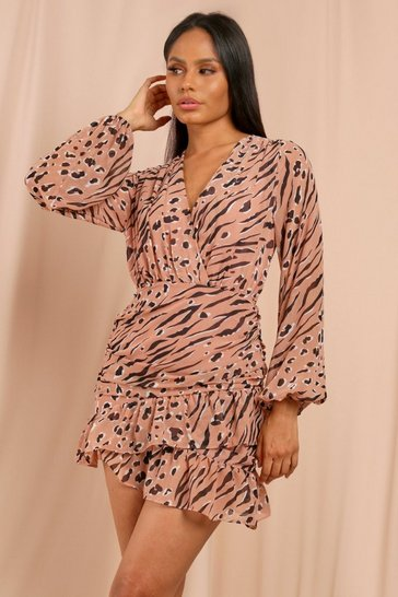 Pink Animal Print Chiffon Ruched Wrap Dress