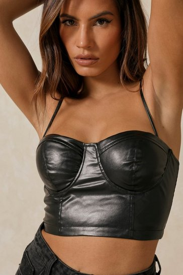 Black Leather Look Corset Top