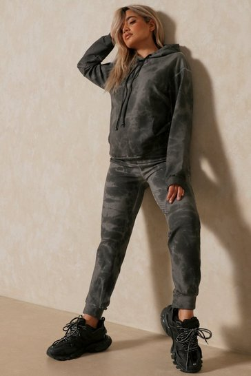 Black Tie Dye Oversized Sweatshirt and Jogger Set