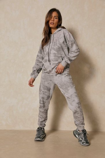 Grey Tie Dye Oversized Sweatshirt & Jogger Set