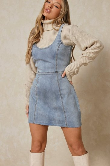 Mid blue Scoop Neck Raw Hem Denim Dress