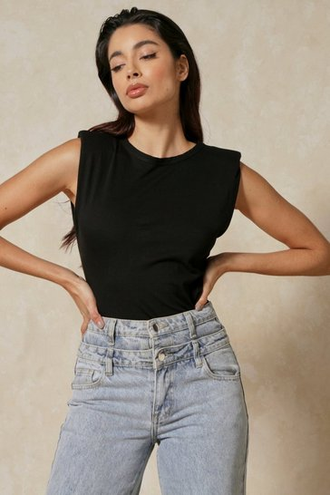 Black Padded Shoulder Detail T-Shirt