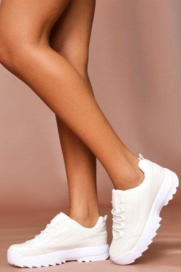 White Chunky Platform Trainers