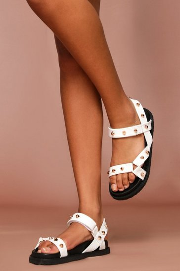 White Chunky Studded Gladitor Sandals