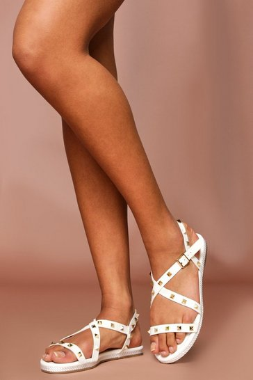 White Studded Caged Sandals