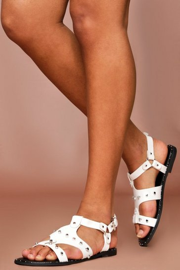 White Studded Caged Gladiator Sandals