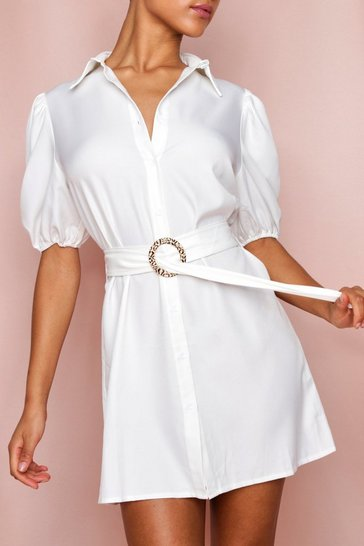 White LEOPARD BUCKLE PUFF SLEEVE BELTED SHIRT DRESS