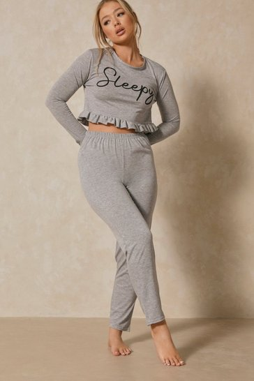 Grey Sleepy Slogan Frill Hem Pj Pants Set
