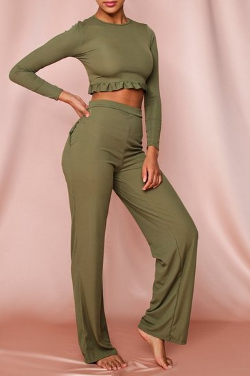 Khaki Ribbed Frill Detail Top and Wide Leg Set