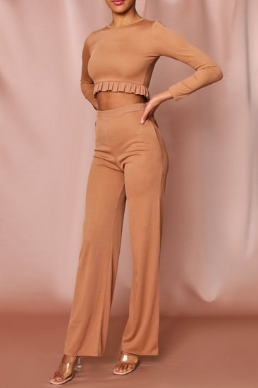 Nude Ribbed Frill Detail Top And Wide Leg Set