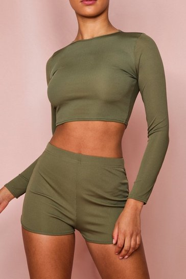 Khaki Ribbed Long Sleeved Top & Short Set