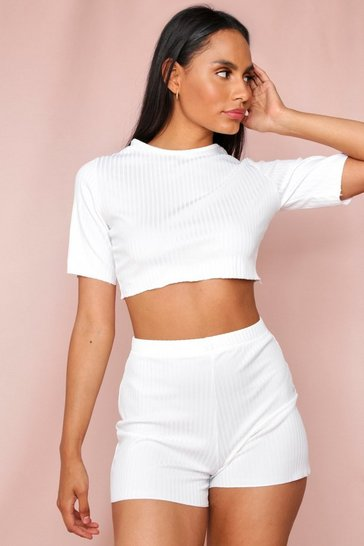 Cream Lettuce Hem Crop Top & Short Set