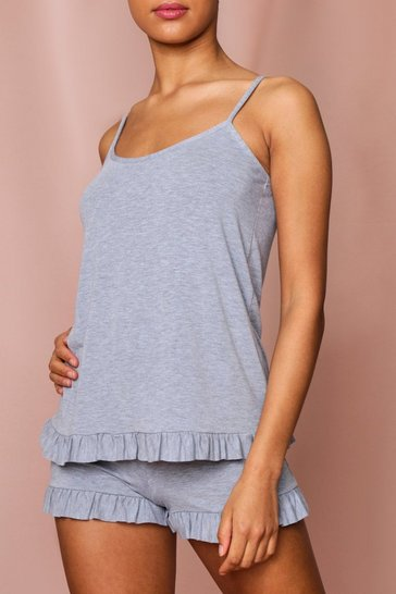 Grey Frill Detail Vest and Short PJ Set