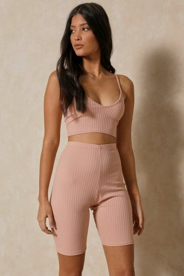Nude Ribbed Strappy Crop Top And Cycle Short Set