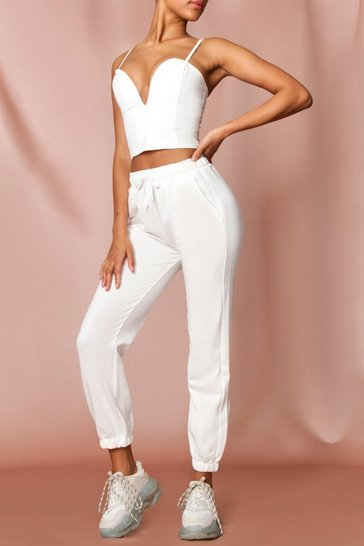 White Basic Drawstring Joggers