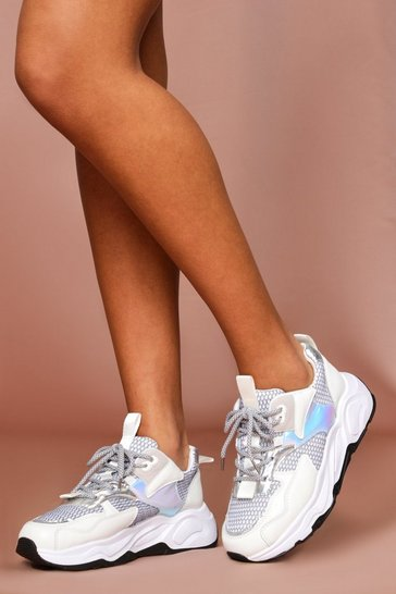 White Holographic Detail Chunky Trainers