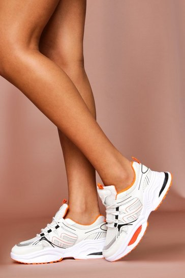 Orange Chunky Sports Style Sneakers
