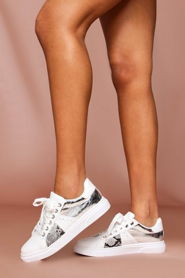 White Snake & Metallic Detail Basic Sneakers