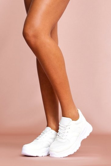 White Chunky Sole Trainer