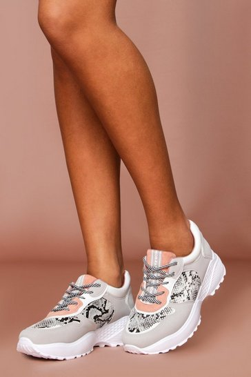 Grey Snake Detail Panelled Chunky Trainer