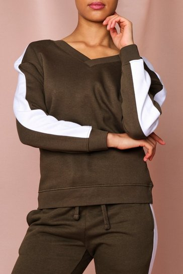 Khaki Side Stripe Sweatshirt