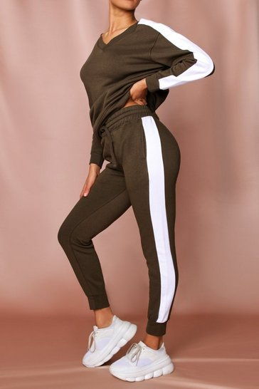 Khaki Side Stripe Joggers