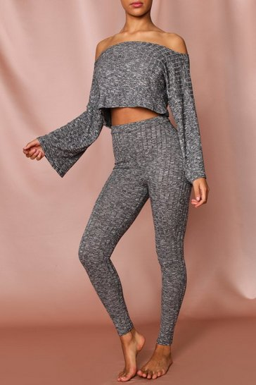 Grey Slash Neck Ribbed Co-Ord