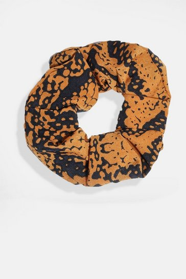 Orange Snake Print Scrunchie