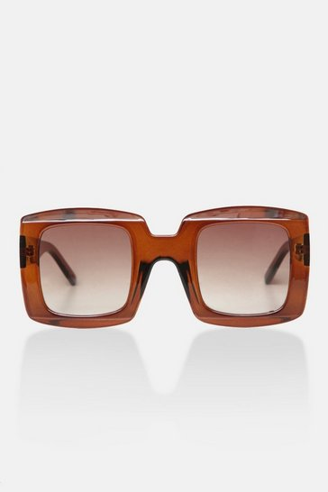 Brown Oversized Thick Frame Sunglasses