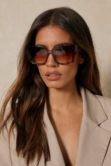 Brown Oversized Square Framed Sunglasses