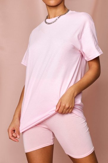 Pink Oversized T-Shirt & Cycle Short Set