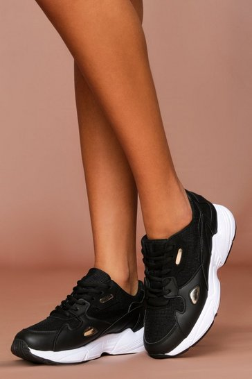 Black Panelled Chunky Trainer