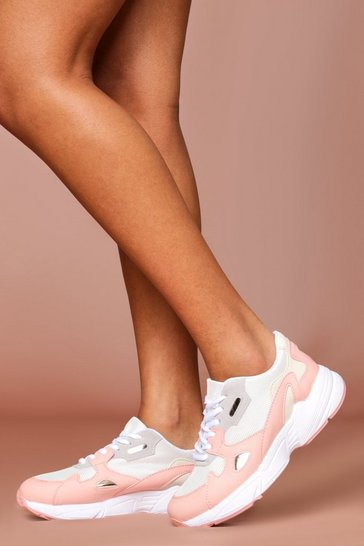 Pink Panelled Chunky Trainer
