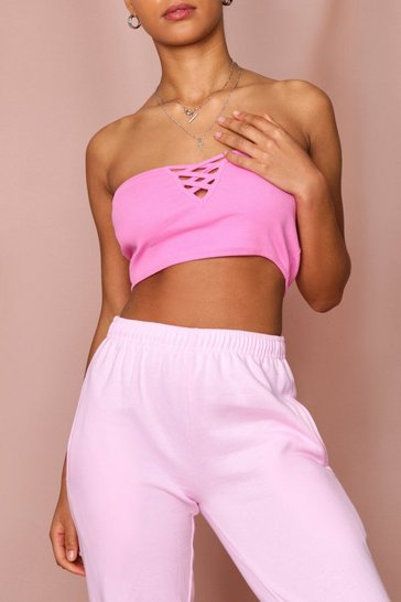 Pink Rib Bandeau Cross Front Top