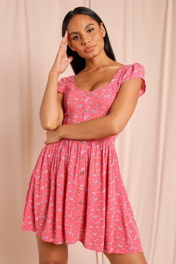 Pink Floral Button High Low Summer Dress