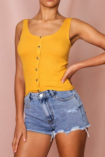 Yellow Button Stretch Vest Low Scoop Back
