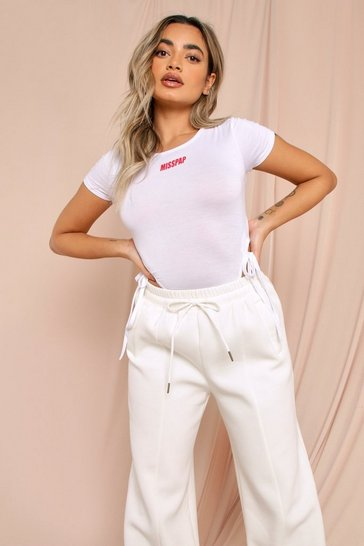White MISSPAP Branded High Leg Bodysuit