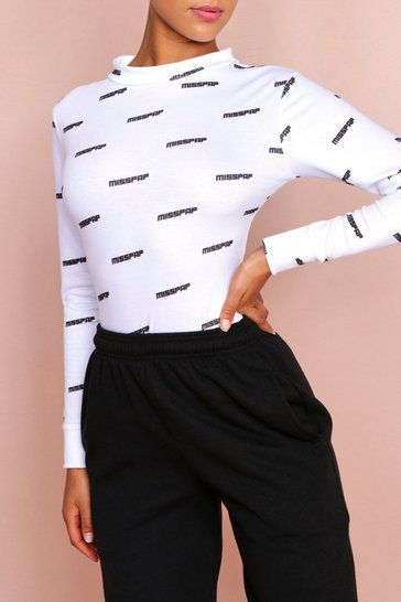 White MISSPAP Branded All Over Print Sweatshirt