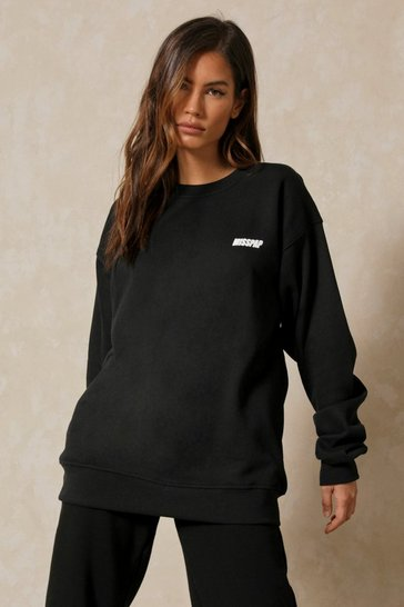 Black MISSPAP Slogan Pocket Print Sweatshirt