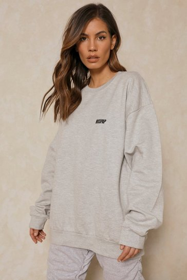 Grey marl MISSPAP Slogan Pocket Print Sweatshirt