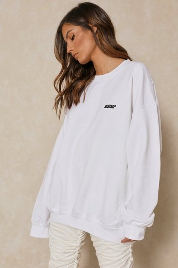 White MISSPAP Slogan Pocket Print Sweatshirt