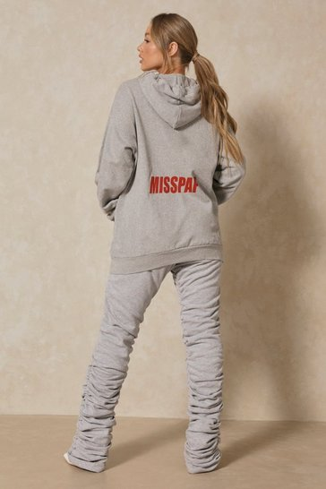 Grey marl MISSPAP Back Print Branded Oversized Hoodie