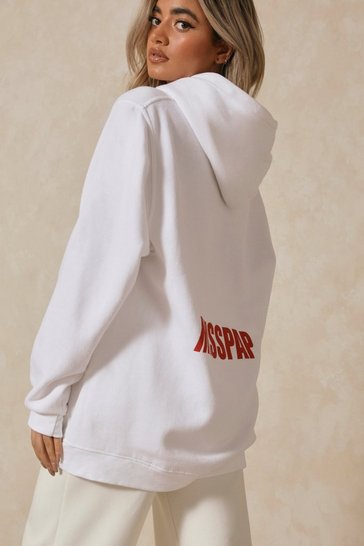 White MISSPAP Back Print Branded Oversized Hoodie