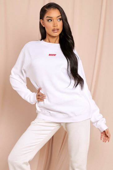 White MISSPAP Branded Oversized Sweatshirt